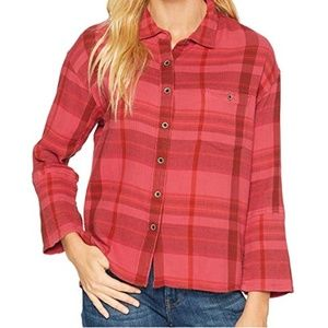 NWT Prana Red Plaid Wide Sleeve Fillary Top MD